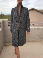 Maje Long leopard Wool Blend print coat 38