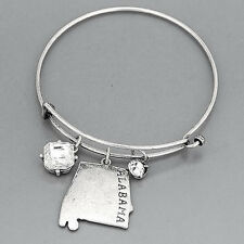 Silver State Of Alabama Clear Stone Charms Dangling Simple Bangle Bracelet