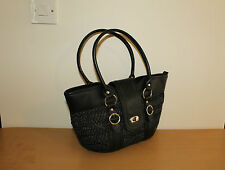 Black Woven & Look Leather Zip Hand Bag Shoulder Bag Tote Bag Summer Beach Bag