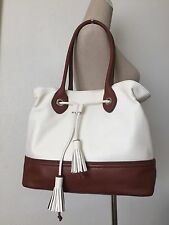 Cole Haan Reiley Tassel Drawstring Tote Shopper Bag Ivory Brown Leather CHR11332