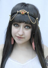 GOLD STUDDED CHAIN RED JEWELLED SEASHELL MERMAID PRINCESS CROWN GRUNGE HEADBAND