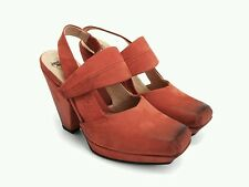 JOHN FLUEVOG On Course STARBOARD HEELS 7 Red Mary Jane Square Toe Shoes Vogs
