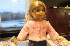 "AMERICAN GIRL 18"" DOLL CLOTHES PINK SWEATER W/ FLORAL RIBBON EMBROIDERY KIT NEW"