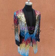 New Mens Bling Suit Blazer Dress Formal Bar Coat Sequins Rainbow Military Jacket