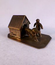 Wonderful Antique Dutch 833 Sterling Miniature Dog House, Dog & Man