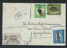 GUYANA (P2109B) 5C+6C FISH+10C BIRD REG ROSIGNOL TO GEORGETOW