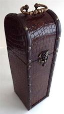 NEW Antique Style Wooden Woven Pattern Metal Handle Clasp Hinge Wine Box Carrier
