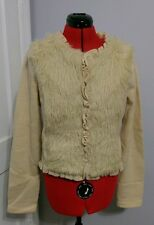anthropologie ruffle faux fur Florence Icing Age Cream wool jacket sweater large