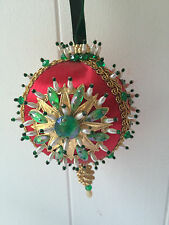 """Vintage Large RED Satin Beaded Christmas Ornament  JEWELS  Sequins 5.5""""  PERFECT"""