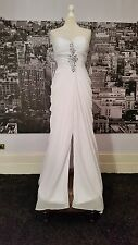 JJs House Seqinned Lace up Gown (White-Size 12) Wedding, Beach Wedding RRP £400+