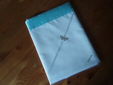 Baby beddingHandmade Pair White sheets&Blue Haze Satin Binding Edge. Crib/moses