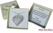 "Heart 925 Silver Plated 18"" Necklace Filigree Hollow Pendant - Bridesmaid Gift"