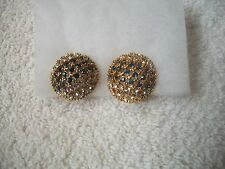 NOLAN MILLER Signed Earrings ClipOn GLAM Goldtone Sapphire & Clear Crystals NEW