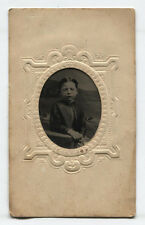 TINTYPE, BEAUTIFUL YOUNG BOY, TINTED. PERIOD MAT WITH MAKER MARK.