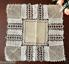 Hand Made Lace Doily Natural Linen Taupe Vintage Table Center
