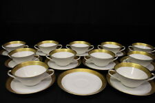 Set of 11 Hutschenreuther Gold Encrusted White Porcelain Soup Cups/Bowls