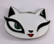 Cat White Feline Kitten Felidae Female Queen Winking New Belt Buckle cc