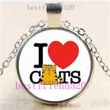 I LOVE CAT Photo Cabochon Glass Tibet Silver Chain Pendant Necklace#B70