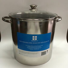Essential Home 16 Quart Stock Pot with Glass Lid Free Shipping New