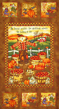 Autumn Fall Fabric - Harvest Angels Scarecrow Cat Pumpkin SPX Spectrix - PANEL