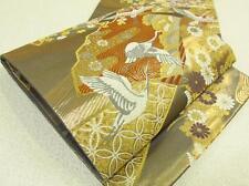 Japanese Kimono SILK FUKURO OBI TURU BIRD CRANE  (3902-4609 YA)