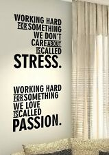 Working Hard Stress Quotes wall vinyl decals stickers Art Wall Graphics Love
