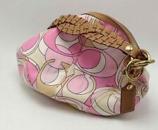 COACH Purse SOHO Pink Multi Signate C HOBO w Brown Braided Leather Handle NewWT