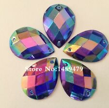 10 pcs x Sew On 25x18 mm Acrylic Rhinestones Dark Blue AB Color Teardrop Shape