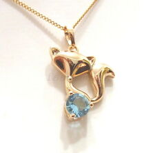 fashion1uk 18K Gold Plated Blue Simulated Diamond Lady Fox Charm Necklace Chain