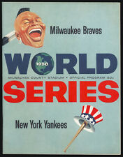 1958 World Series Program Milwaukee Braves vs. NY Yankees. Scored. Mantle 2 HRs