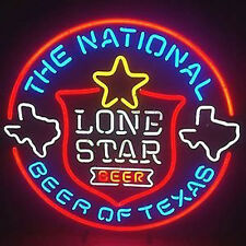 "18""x18"" Lone Star National Beer Of Texas Neon Light Signs Beer Bar Club Display"