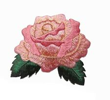 """#4524  2 5/8"""" Pink Rose Flower Embroidery Iron On Applique Patch"""