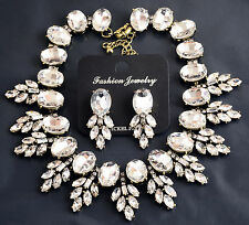 Vintage Gold Clear Resin Leaves Statement Collar Necklace Earrings Jewelry Set