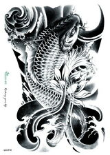 Black arm temporary tattoos tribal large Carp Waterproof  tattoo sticker