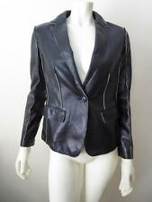 Salvatorre Ferragamo Black Leather Raised Seam Jacket Blazer 40