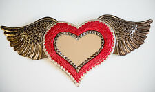 Tin Wall Hanging Heart Mirror Plaque Gift Mexican Handmade Red Silver Wings