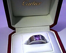 Cartier 18ct White Gold Amethyst Tank Ring size 52 - Certified & Authenticated