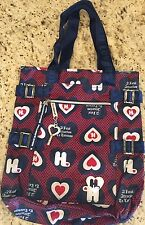 GWEN STEFANI HARAJUKU LOVERS MUSIC LARGE TOTE BAG PURSE Hearts Blue Red