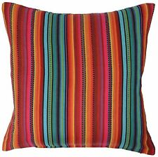 "Rainbow Stripe Cushion Covers 16"" 40cm 100% Cotton Machine Washable"