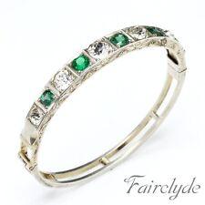 Muy Fino Antiguo Victoriano Plata Dorada Esmeralda Diamante Pasta Brazalete Regalo En Caja