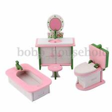 Wooden Doll House Furniture Bathroom Bathtub Closestool Cabinet Toy Xmas Gift