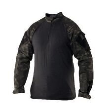 TRU SPEC TRU 1/4 ZIP Combat Shirt with CORDURA! Black Camouflage #2539 MEDIUM