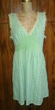 Anthropologie Mint Green Vintage Style Dress Big Eyelet Cotton Corset Waist Sz L