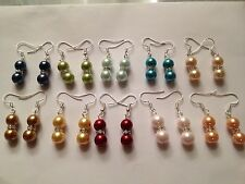 Wholesale 10 Pair mix color REAL sea shell pearl 8mm tibet silver dangle earring