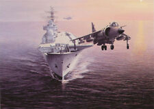 Sea Harrier HMS Ark Royal plano de aviones de combate en Blanco Tarjeta Cumpleaños Padres Día