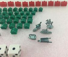 Monopoly Game Replacement Pieces & Tokens - Hotels Houses Thimble Dog Ship Car