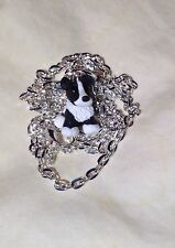 Border Collie Dog Sheepdog Polymer Clay Pendant Charm SP Necklace 18''