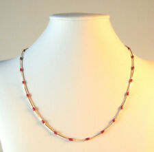 Rose Gold Plated Necklace Chain Red Enamel Beads 18in No Stone 9k Casual