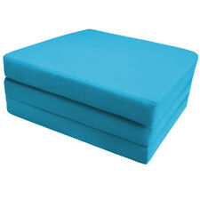 Turquoise 100% Cotton Fold Out ZBed Cube Sleepover Guest Mattress Futon Chairbed