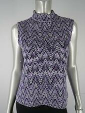 $645 ST JOHN M Knit Luxury Purple Ivory Black Zig Zag Chevron Sleeveless Top EUC